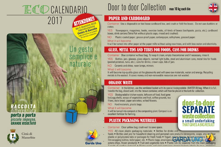 Eco Calendari 2017 – Città di Manerbio: door to door collection