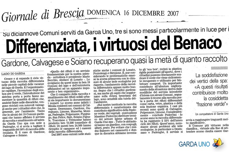 Differenziata, i virtuosi del Benaco